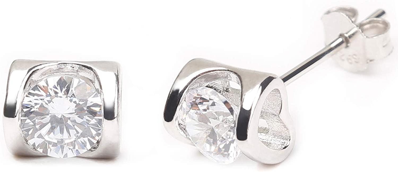 Tobeffect 925 Sterling Sliver Stud Earrings for Women Teen Girls Unisex Fashion Hypoallergenic Cubic Zircon Earring Jewelry Gifts