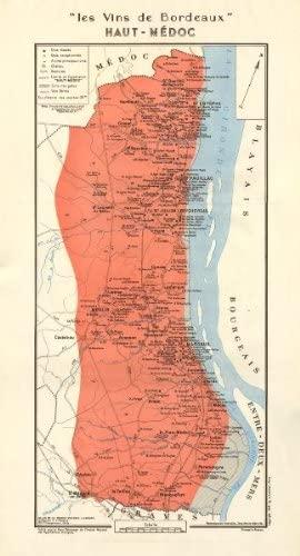 Bordeaux Wine. Les Vins de Bordeaux - Haut-Médoc. Larmat - 1949 - Old map - Antique map - Vintage map - Printed maps of Gironde