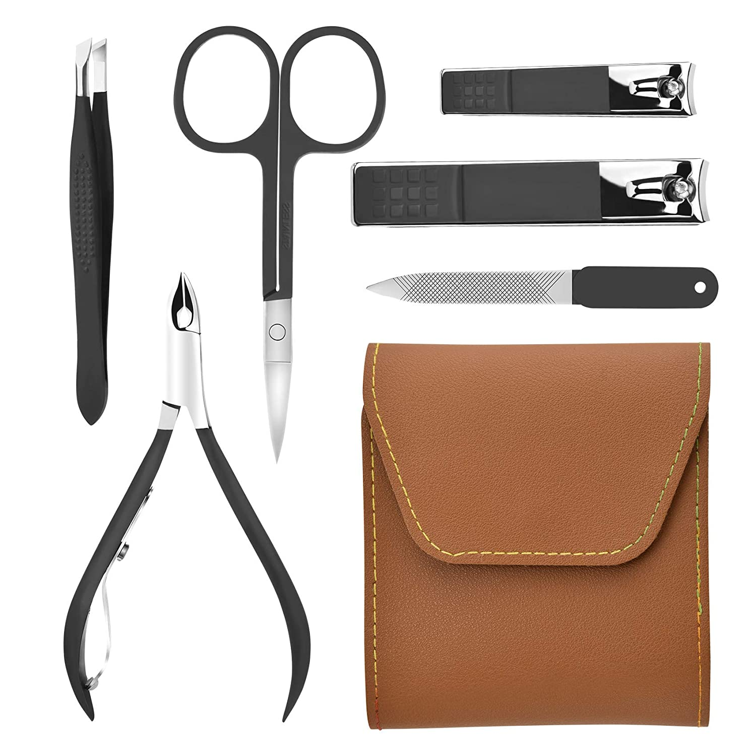 Manicure Set Nail Clippers Pedicure Kit, 6 Pieces Stainless Steel Manicure Kit, Professional Grooming Kits for Women/Men, Personal Nail Care Tools with Leather Case, Very Suitable As a Gift (Brown)