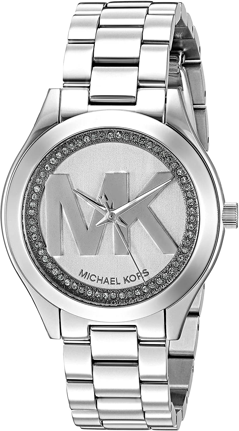 Michael Kors Women's Mini Slim Runway Logo Silver-Tone Watch MK3548