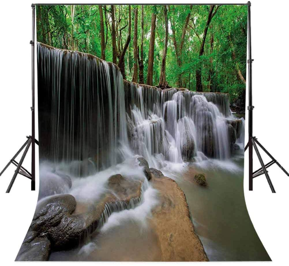 Nature 10x20 FT Backdrop Photographers,Waterfall at Forest in Tropical Environment Unusual Woodland Scenery Background for Baby Birthday Party Wedding Vinyl Studio Props Photography