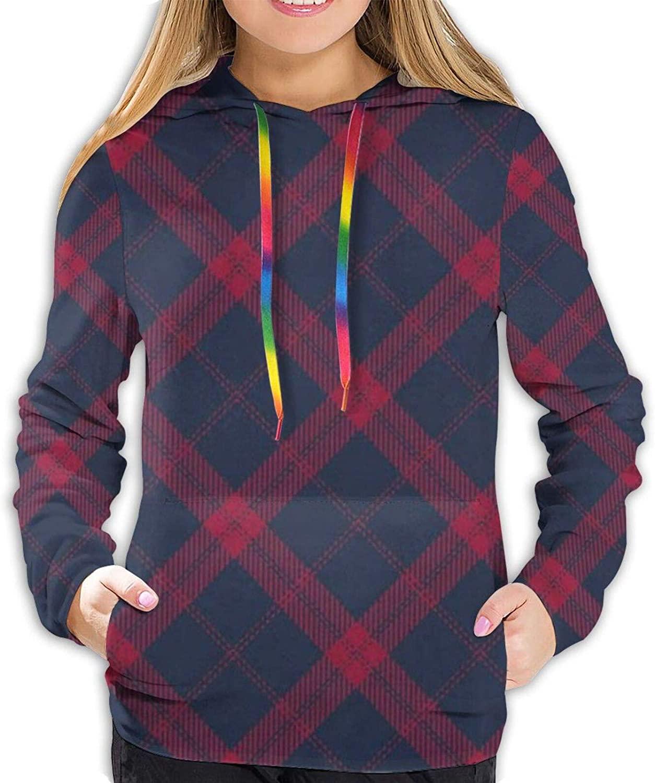 Navy Red Plaid Rustic Christmas Hoodies for Women Hooded Sweatshirt Long Sleeve Pullover Shirts Designs