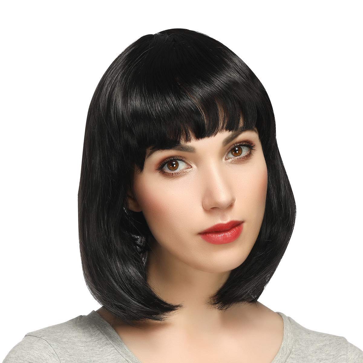 Black Bob Wig - 14 Inches Straight Short Bob Wig with Flat Bangs for Women, Synthetic Cosplay Wig, Natural as Real Hair with Wig Cap, Black