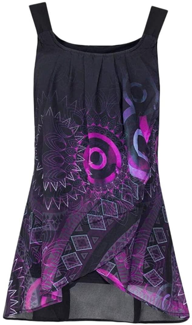 UOKNICE Fashion Womens Geometric Pattern Printed Sleeveless Vest Tank Tops Blouse Camisole