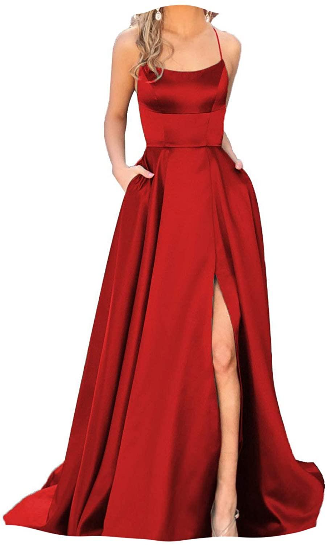 Fanciest Womens Halter Slit Satin Prom Dresses Long Backless Evening Formal Gowns