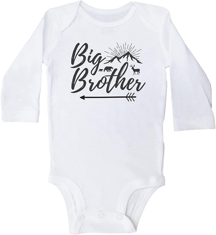 Baffle Big Brother/Mountain Wildlife Scene Baby Bodysuit or Toddler Shirt/Grey, White, BW (6MO, White Long Sleeve Onesie)