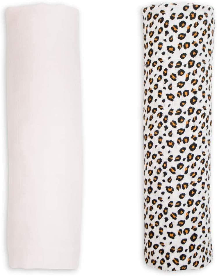 Super Soft Premium Swaddling Blankets| 2 Pack| Bamboo Viscose & Cotton Mix Pink & Leopard