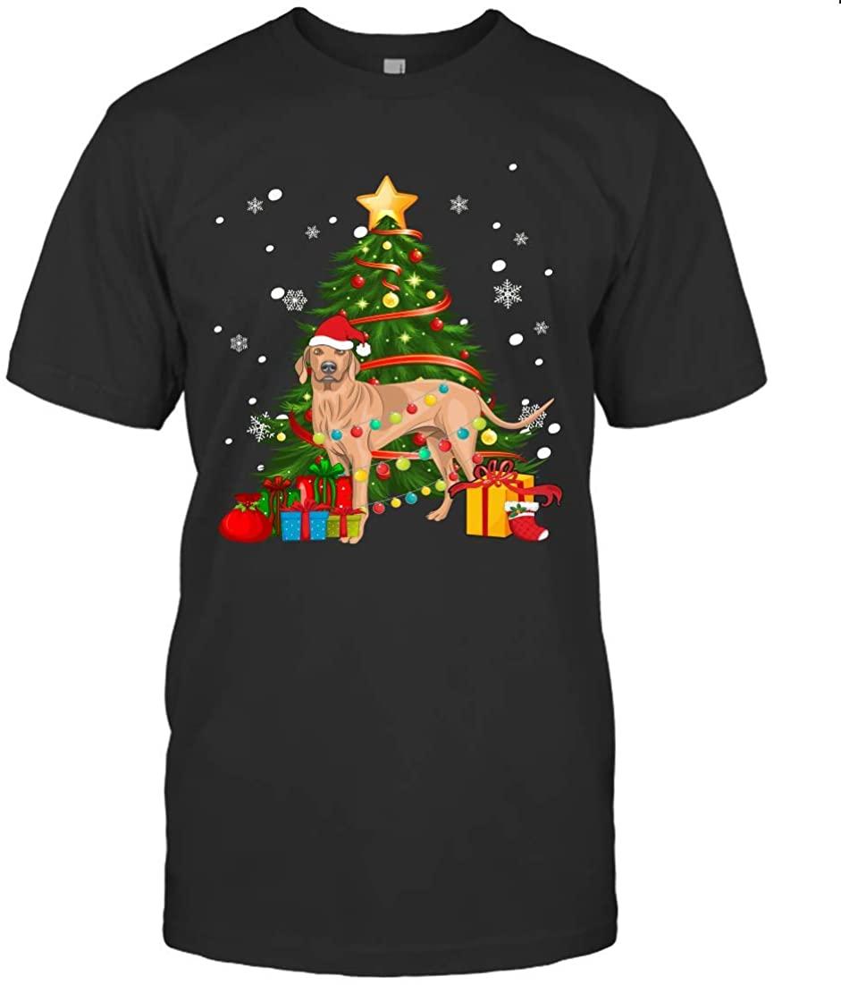 THE ELLIOTT Cute Christmas Dog Vizsla Led Lights Gift Shirt Unisex T Shirt Sweatshirt Hoodie Black