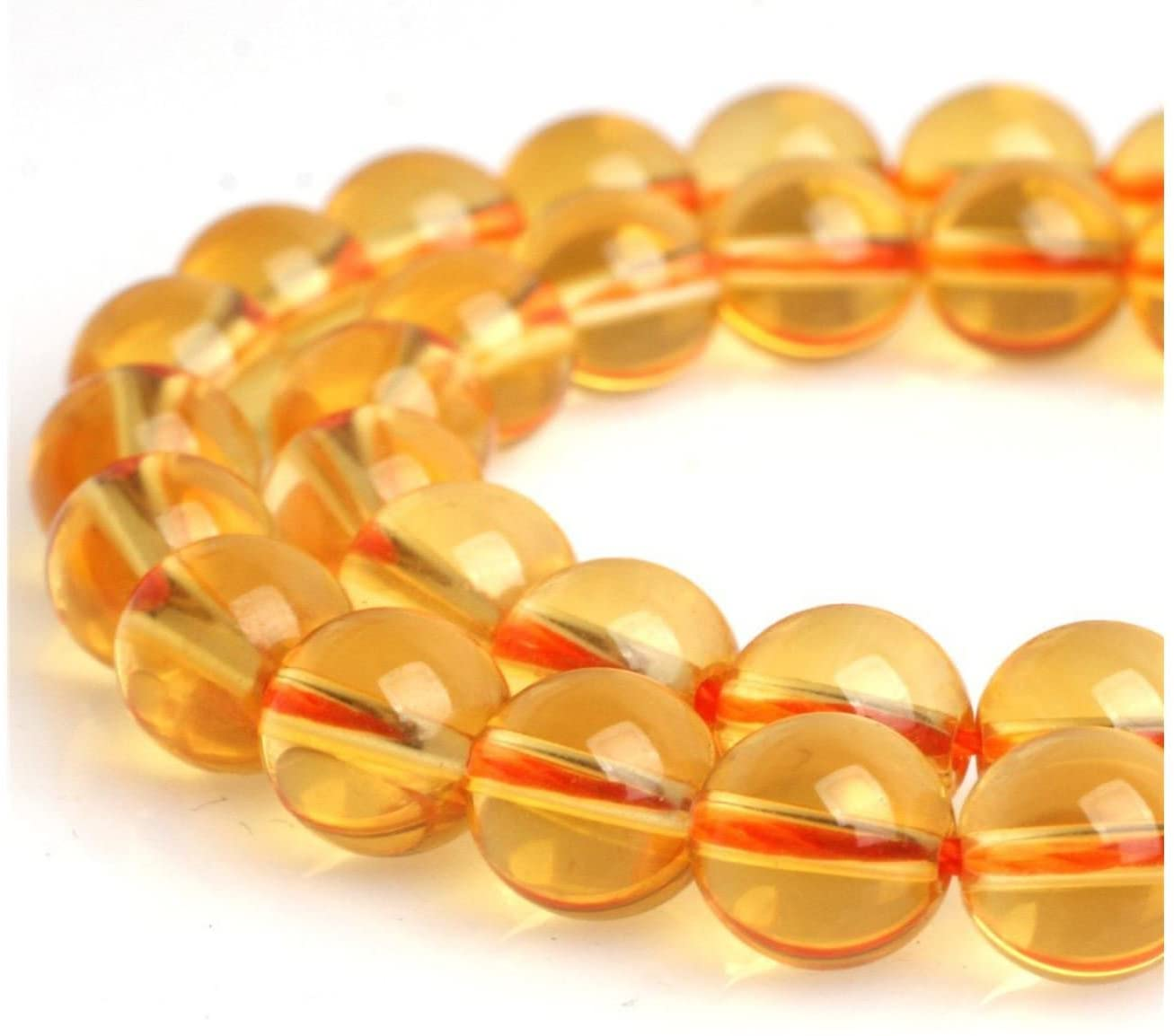 2 Strands Natural Citrine Yellow Crystal Gemstone 8mm Round Loose Stone Beads (~ 88-94pcs total) for Jewelry Craft Making GH2-8