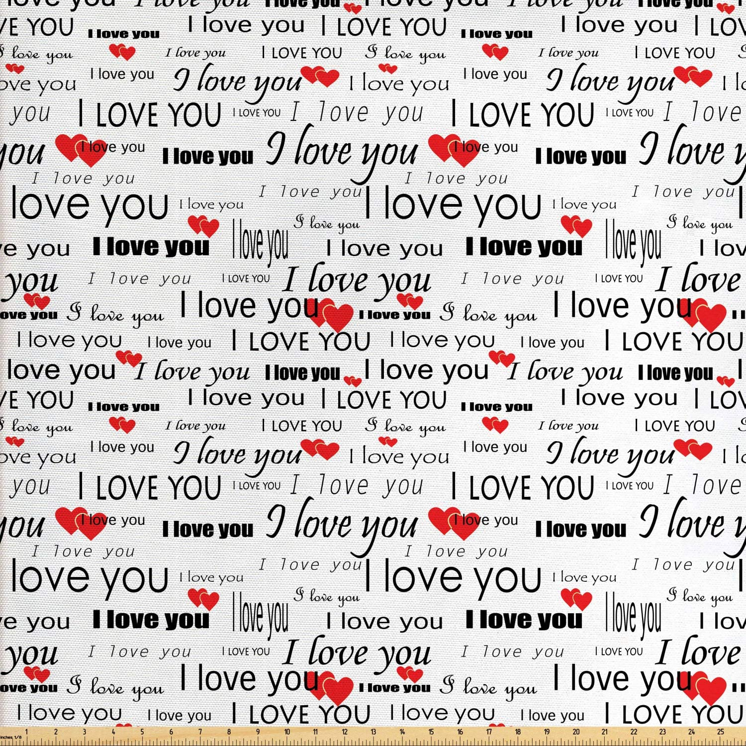 Ambesonne Romantic Fabric by The Yard, I Love You Words with Hearts Romance Couple Valentine Plain Backdrop, Decorative Fabric for Upholstery and Home Accents, 3 Yards, Vermilion White