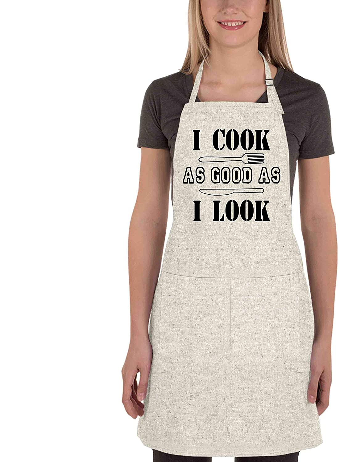 Adjustable Bib Apron for Women - I cook as good as I look - Funny Apron for Chef, Kitchen, Home, Restaurant, Cafe, Cooking, Baking, Gardening