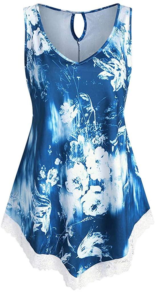 NREALY Women Summer Soild Sleeveless Flower Print V Neck Daily Vest Tank Tops Blouse