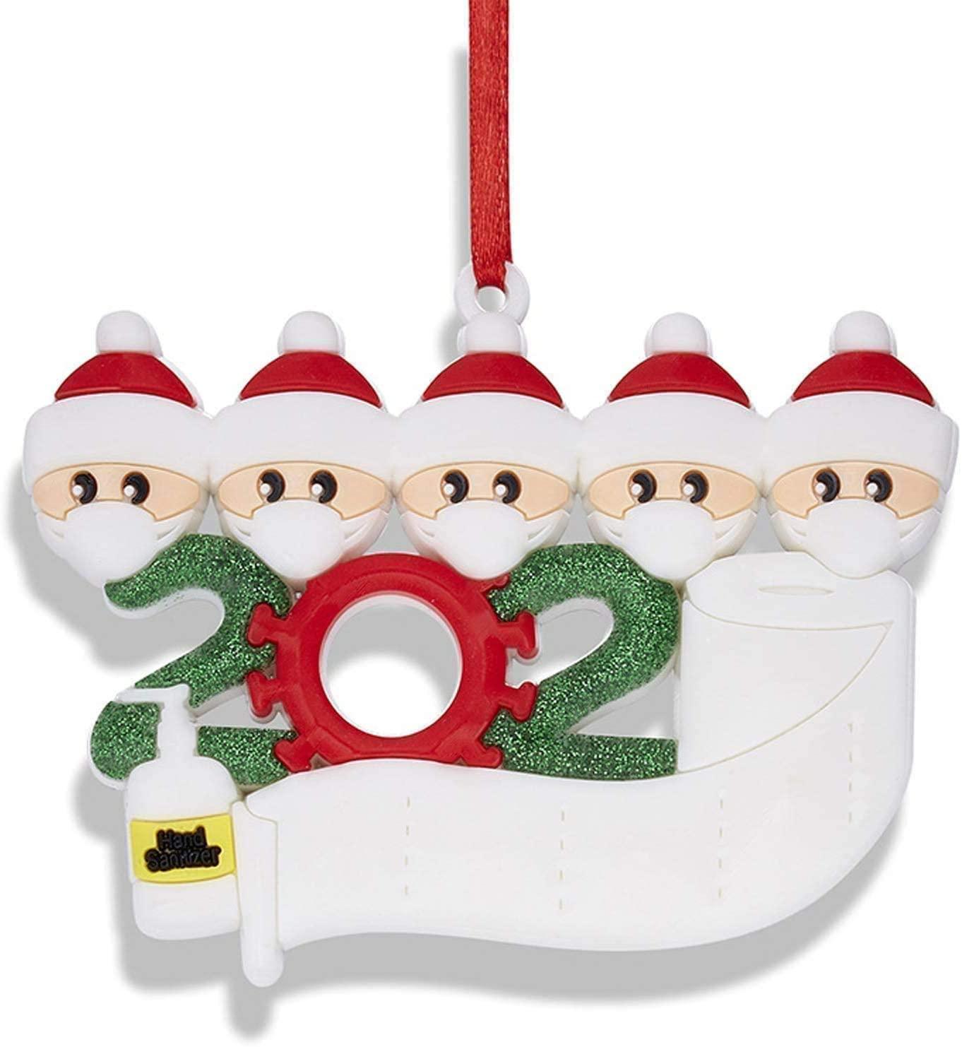 Pure Compression 2020 Christmas Tree Ornaments, Christmas Ornaments Family of 2-7, DIY Christmas Decorations with Custom Name Christmas Tree Hanging Home Decorations (2PCS, Family of 5)