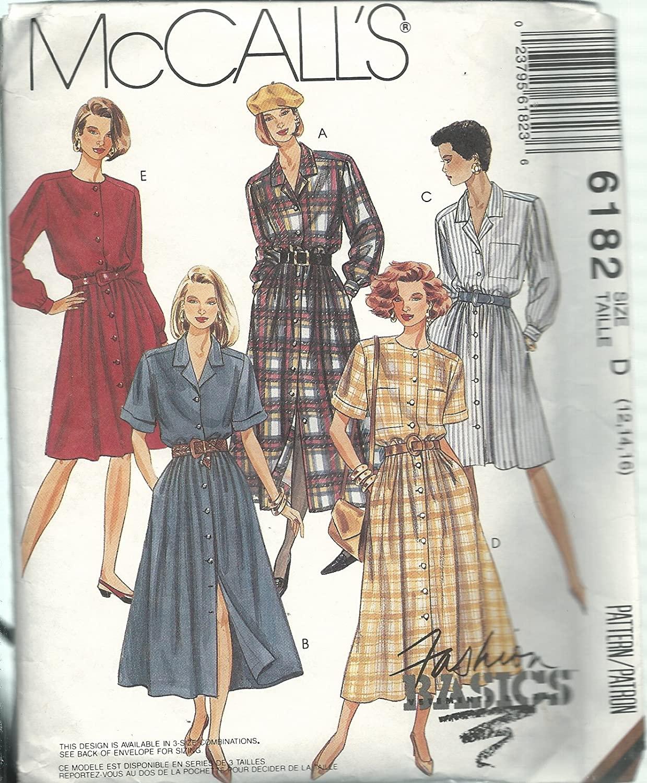 McCall's 6182D Sewing Pattern Misses Fashion Basics Dress Size 12-16