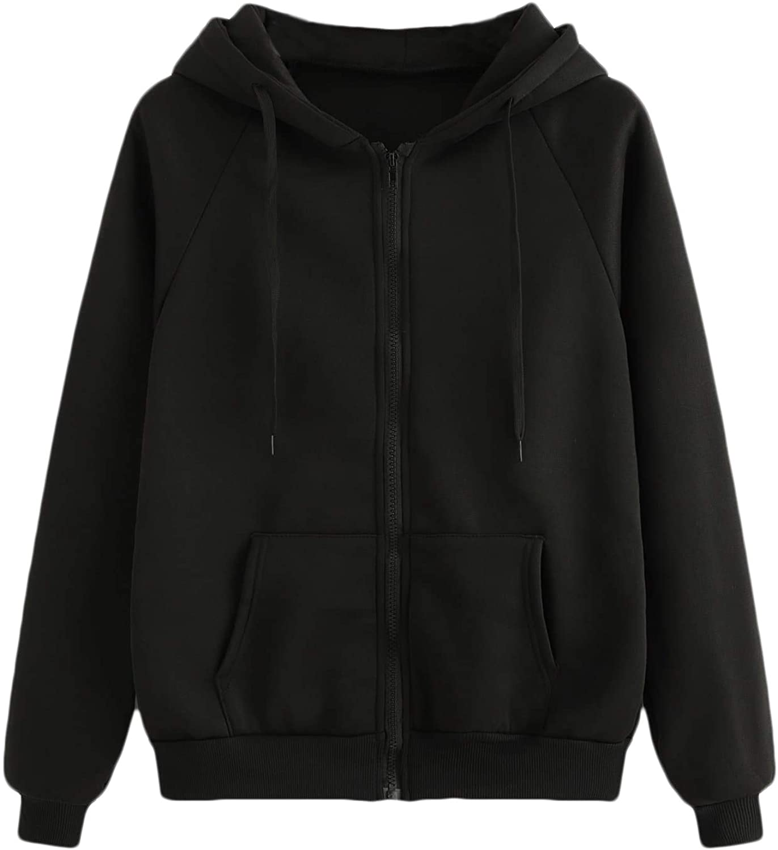 Floerns Women's Zip Up Long Sleeve Drawstring Hoodie Sweatshirt with Pocket