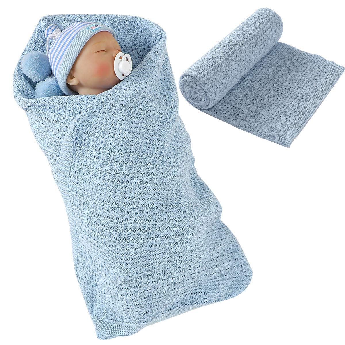 Baby Blanket, Newborn Toddler Cotton Knit Swaddle Blanket Stroller Wrap Cover for Baby Boys Girls 39.4x31.5in