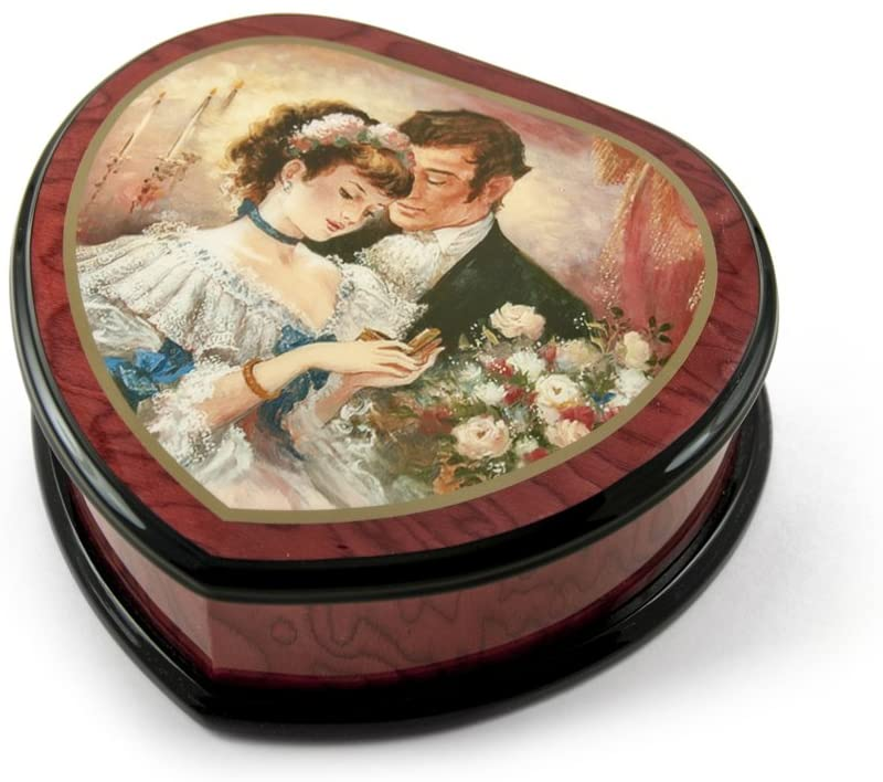 Romantic Heart Shape Painted Ercolano Music Box Titled - A Token of Love by Brenda Burke - Many Songs to Choose - Clair de Lune