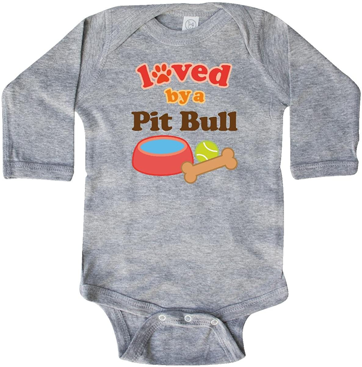 inktastic Pit Bull Loved by a (Dog Breed) Long Sleeve Creeper