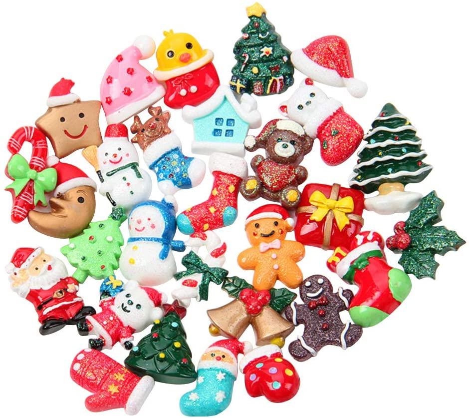 STOBOK 30PCS Mixed Resin Pendants Flatback Christmas Charms Ornaments Craft Embellishment (Assorted Pattern)