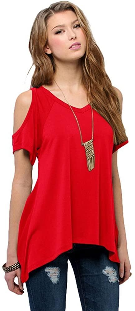 Kafeimali Women's Hollow Out T Shirt Shoulder Bell Sleeve Solid Loose Shirt Tops