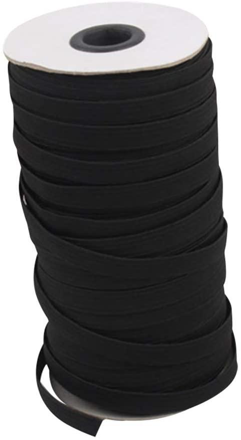 "Black 109-Yards Length 1/4 "" Width Braided Elastic Cord/Elastic Band/Elastic Rope/Bungee/Black Heavy Stretch Knit Elastic Spool"