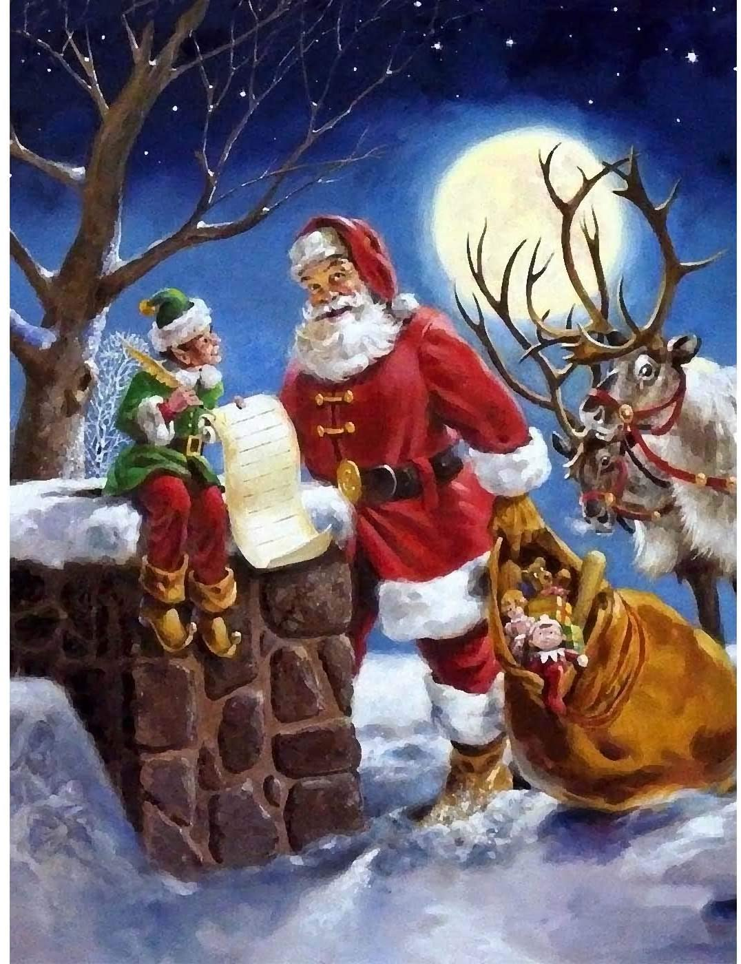 Kaliosy 5D Diamond Painting Santa and The Moose on Moonlit Night by Number Kits Paint with Diamonds Art, DIY Crystal Craft Full Drill Cross Stitch Decoration 12X16inch (X26840)