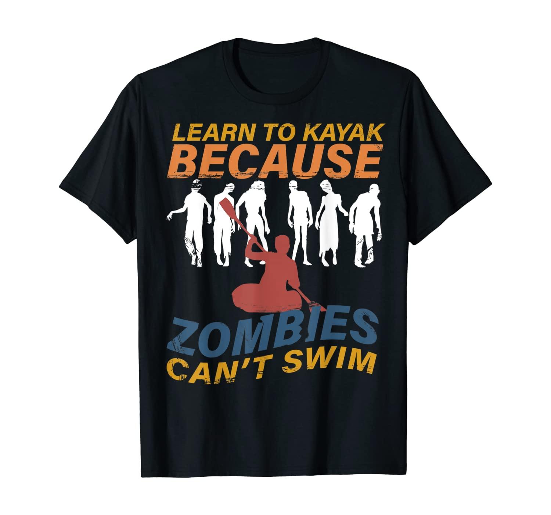 Learn to kayak - funny kayaking gift halloween distressed T-Shirt