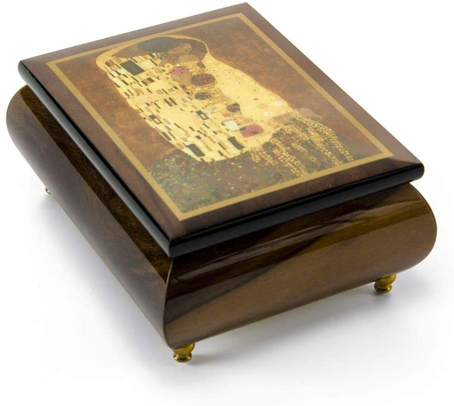 Abstract Romantic Couple Theme Inlaid Small Ercolano Music Box - Many Songs to Choose - Around The World in 80 Days (V.Young)