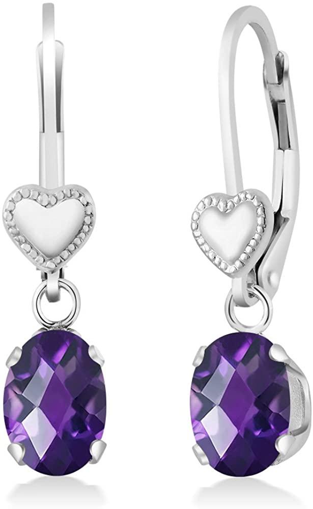 Gem Stone King 1.50 Ct Oval Checkerboard Purple Amethyst 925 Sterling Silver Heart Shape Lever Earrings