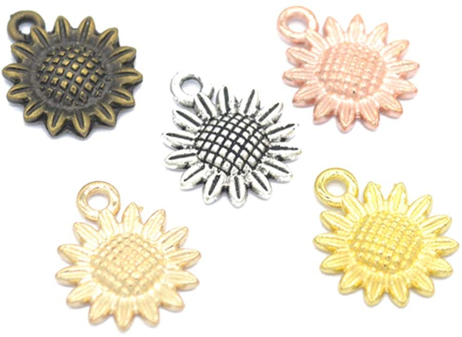 Exceart 120 Pcs Sunflower Shaped Pendant Alloy Pendant Ornament Crafts Accessories for DIY Keychain Jewelry Making 1.8cm (Assorted Colors)