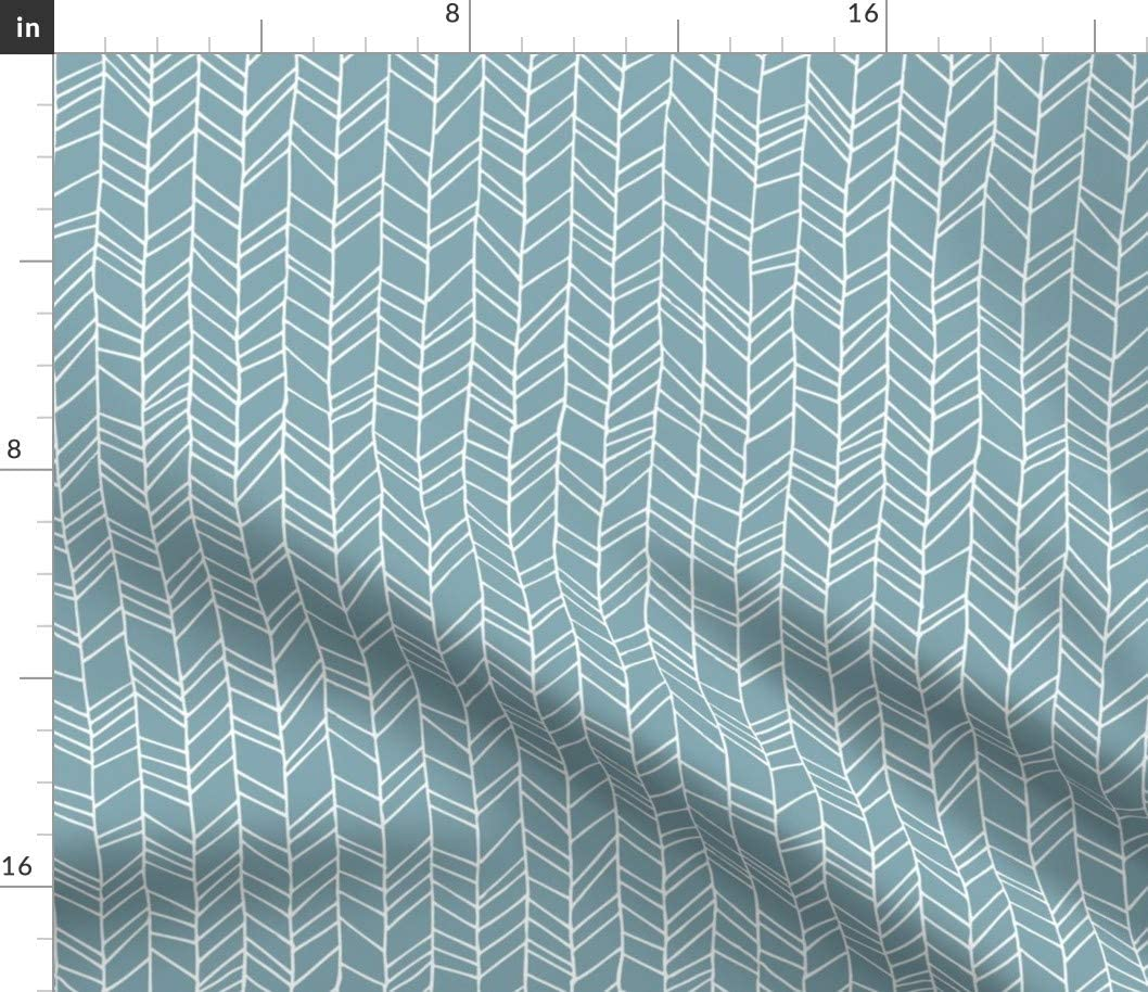 Spoonflower Fabric - Blue Chevron Herringbone Geometric Pattern Feather Arrows Printed on Cotton Poplin Fabric by The Yard - Sewing Shirting Quilting Dresses Apparel Crafts