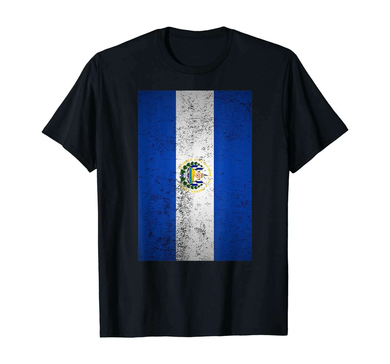 Grunge El Salvador Flag Cool Central America Salvadoran Gift T-Shirt