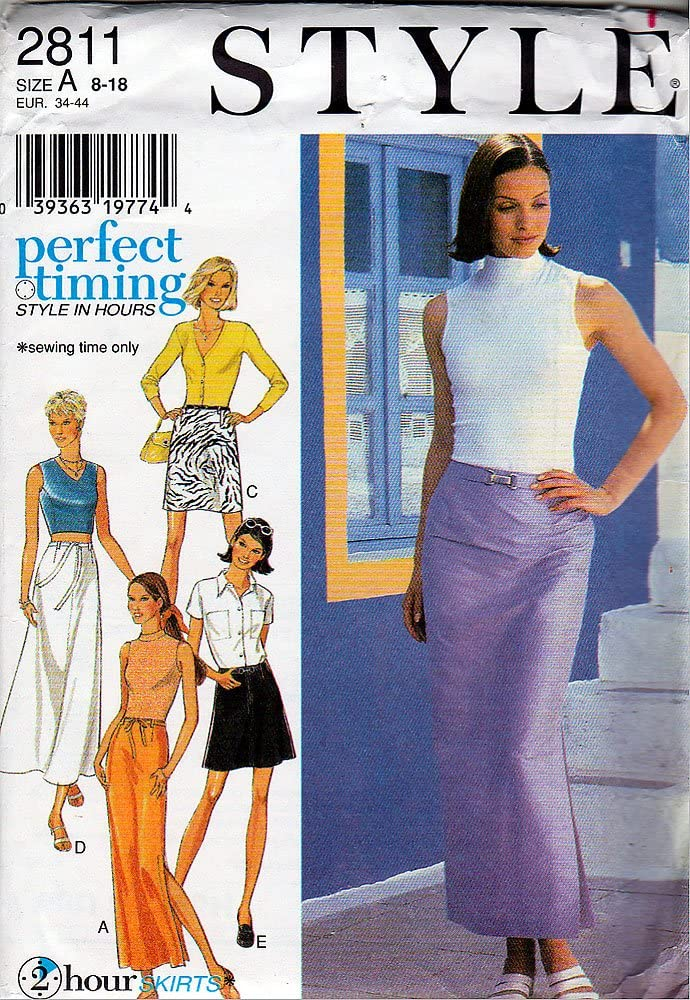 Style Sewing Pattern 28111996 2 Hour Skirts, Size A (8-18)