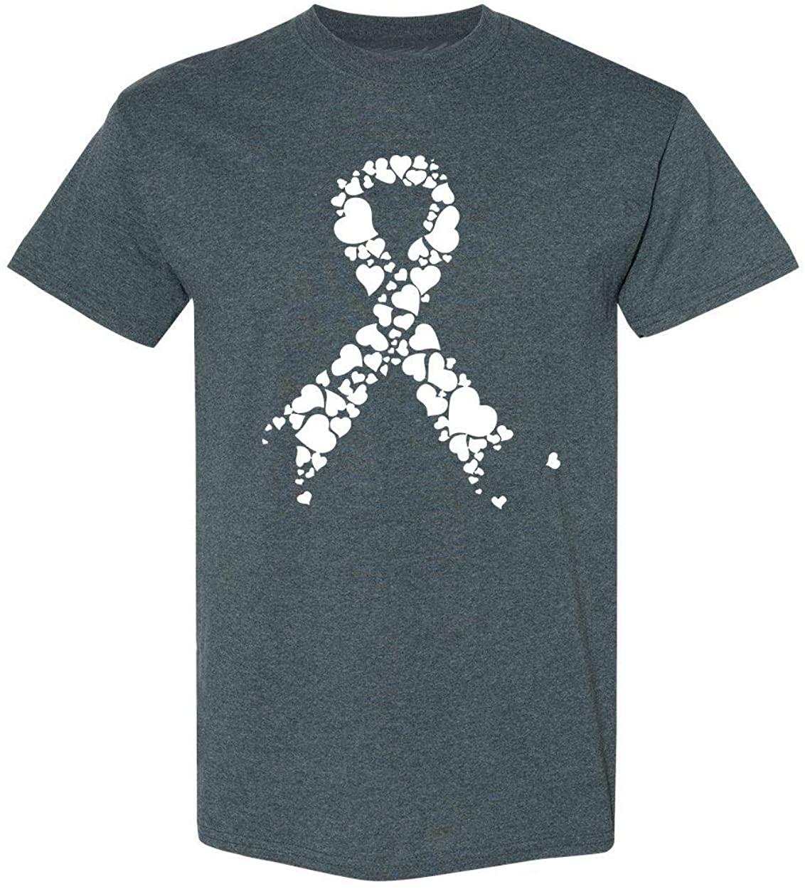 Kropsis White Ribbon Heart Breast Cancer Awareness Men's T-Shirt