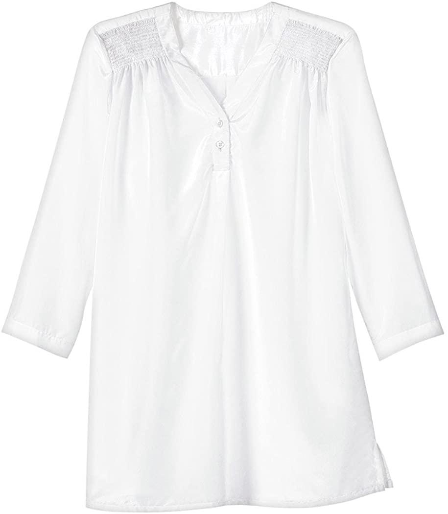 ANTHONY RICHARDS Smocked Shoulder Blouse White 10 Misses