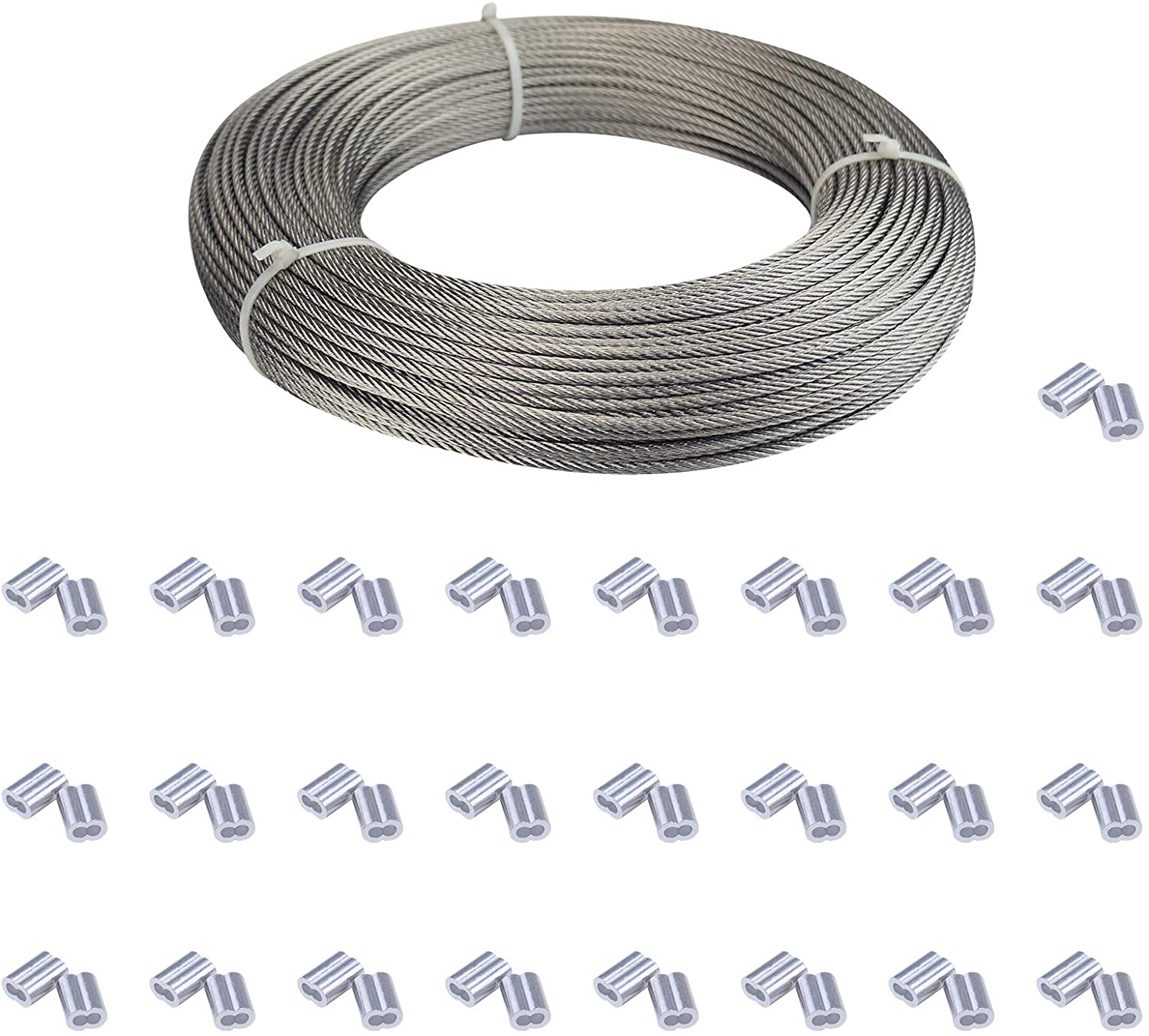 Muzata Stainless Aircraft Steel Wire Rope Cable for Railing,Decking, DIY Balustrade, 1/8Inch,7x7,165Feet WR01,Series WP1,Aluminum Loop Sleeve 50PCS