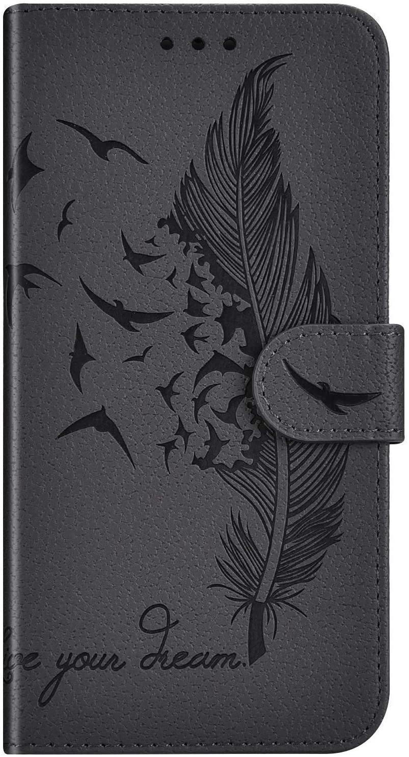 IKASEFU Compatible with Google Pixel 3A XL Case Emboss Feather Plumage Pu Leather Wallet Strap Case with Card Holder Slots Shockproof Magnetic Kickstand Folio Flip Book Protective Cover Case Gray