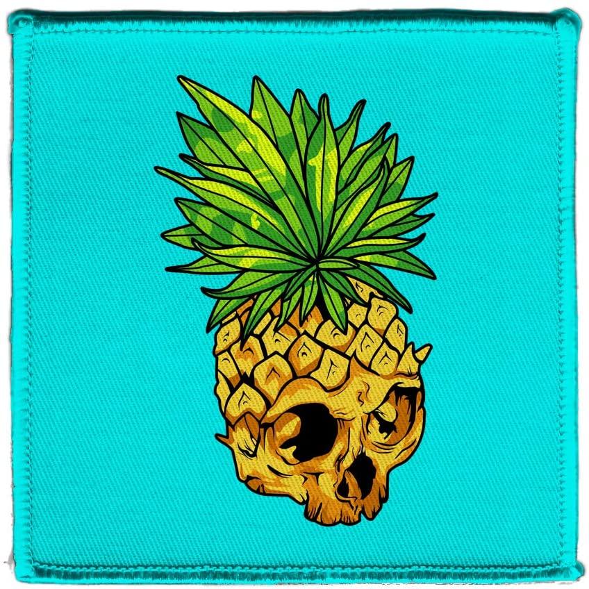 Hat Shark Tropical Summer Pineapple Skull Leaf Fire Eyes Punk Fruit Design 4 X 4 Iron On Patch Applique