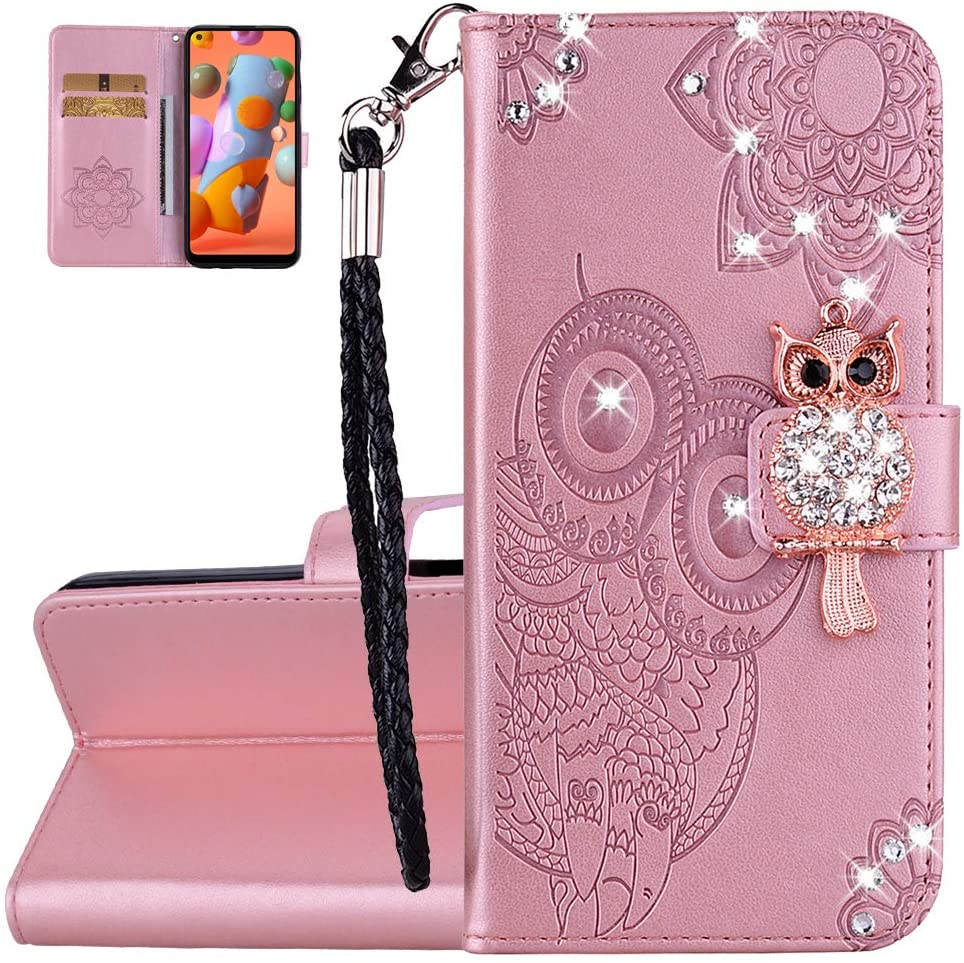 Asdsinfor iPhone Xs MAX Glitter Diamond Case,Advanced Embossing PU Leather Wallet Case,with Card Slot and Bracket Function,Shockproof Flip Magnetic Cover for iPhone Xs MAX Rose Gold YK