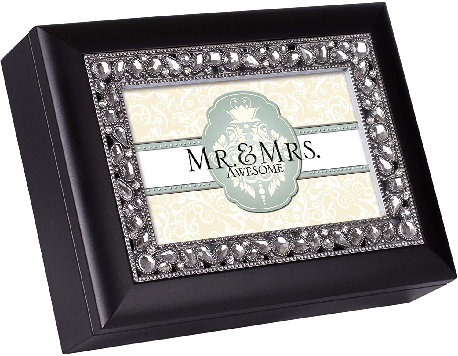 Cottage Garden Mr. & Mrs. Awesome Classic Black Clear Jeweled Music Box Play Wonderful World