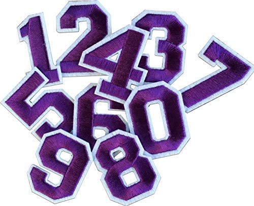 Iron On Patches - Violet 0-9 Iron on Patches Number Patches Embroidered Decorative Repair Patches for Clothes A-84