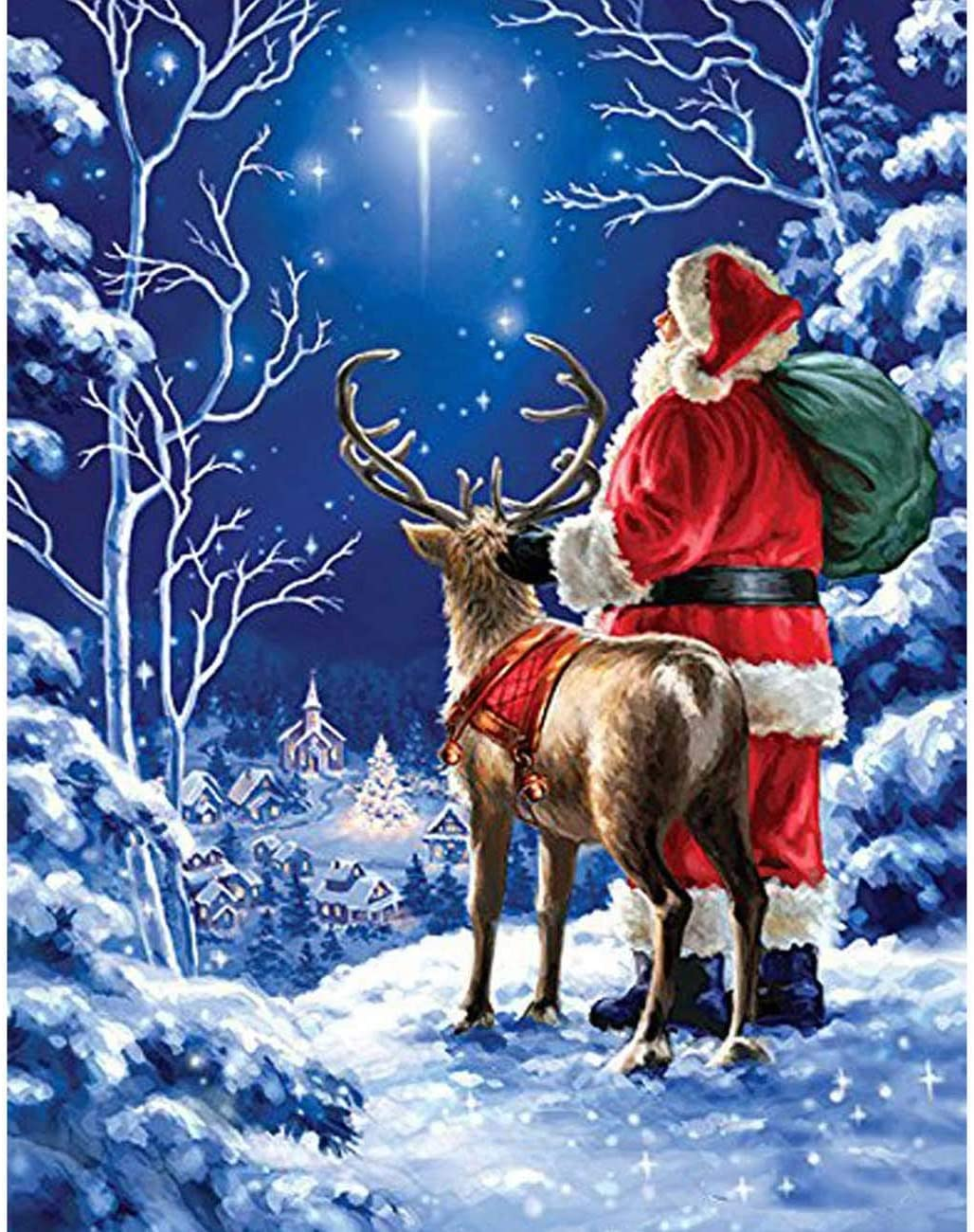 Diymood Painting Acrylic Paint by Number Kits for Students Beginner, DIY Starry Sky Santa Deer Oil Painting Drawing Wall Home Decor 16x20inch