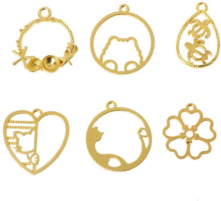minansostey 6Pcs Cat Flower Frame Pendant Open Bezel Blank Setting UV Resin Jewelry Charms