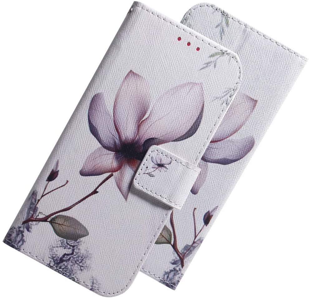 LEECOCO Google Pixel 3A Case Cover Shockproof White Lotus Elegant PU Leather Flip Card Slot Wallet Case Magnetic Stand Card Slot Folio Case for Google Pixel 3A White Lotus TX