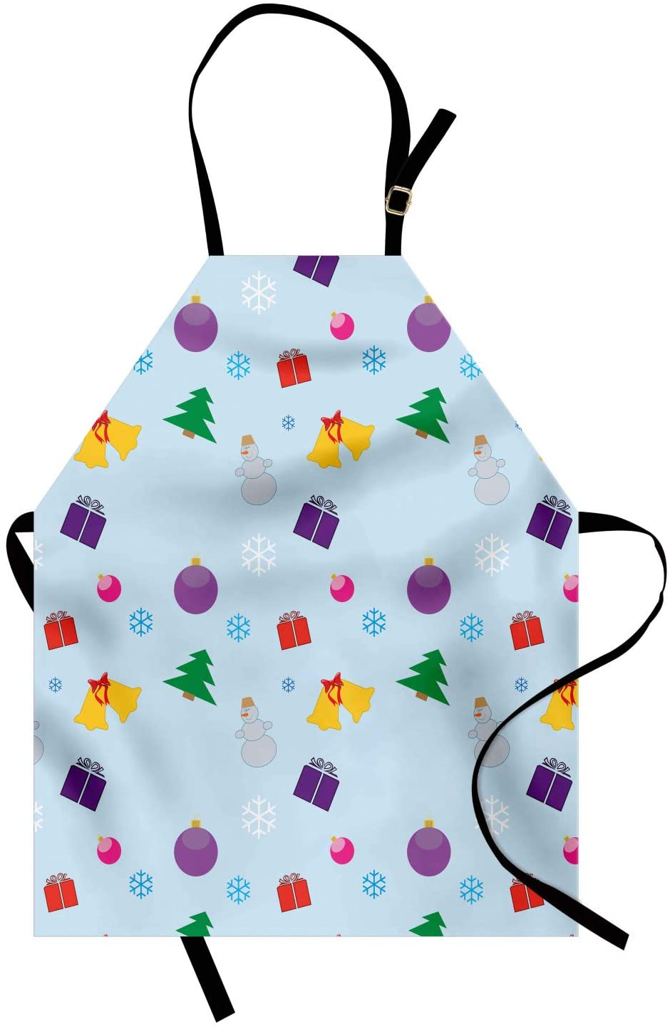 Lunarable Christmas Apron, Holiday Ornaments Scattered with Snowflakes and Snowman Items, Unisex Kitchen Bib with Adjustable Neck for Cooking Gardening, Adult Size, Pale Cadet Blue and Multicolor