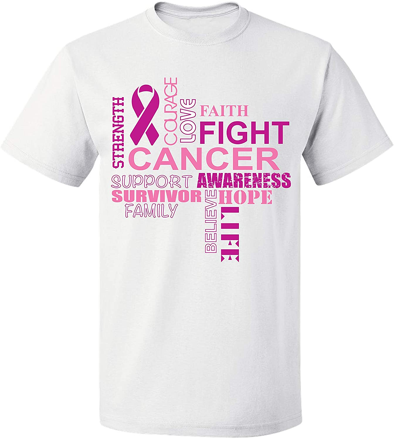 Breast Cancer Awareness Support Believe Hope Fight Mens T-Shirts Crew Neck Tee Shirts