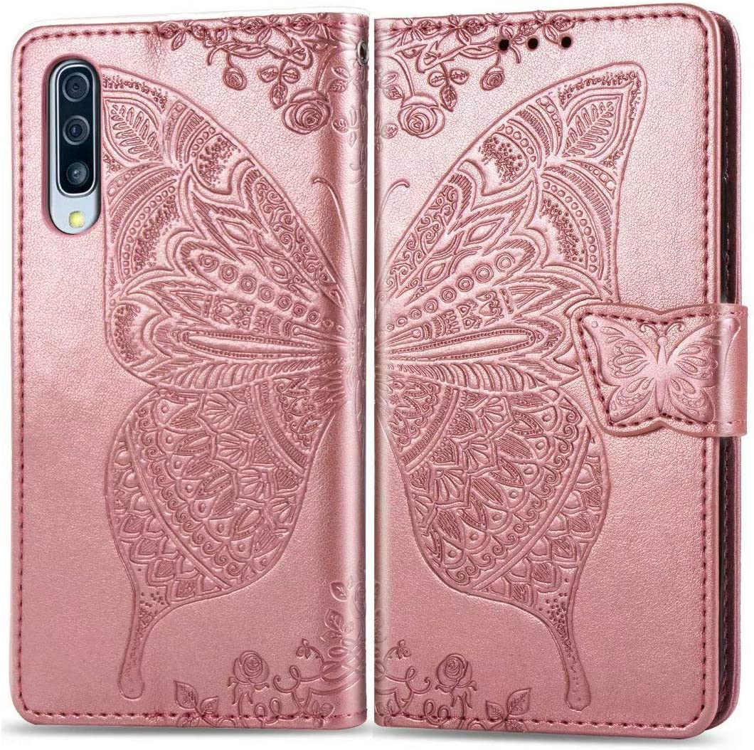 Wallet Case for Samsung Galaxy A50,Butterfly Embossed A50S Phone Case,PU Leather,Magnetic Clasp Flip Folding Cover with [3 Card Slots] [Wrist Strap] Compatible with Samsung Galaxy A30S,Rose Gold