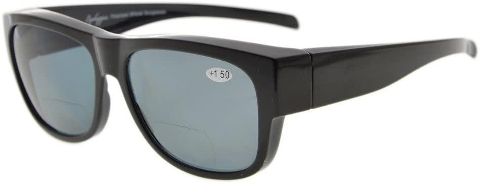 Eyekepper Fitover Polycarbonate Polarized Bifocal Sunglasses Sunshine Readers to Wear Over Regular Glasses (Black/Grey Lenses, 2.50)