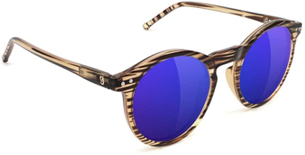 GLASSY TimTim Premium Polarized Sunglasses with Glare Reducing Lenses, 100% UV Protected, Honey Frame, Blue Mirror Lens