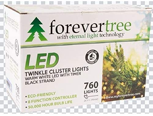 Overstock Forever Tree760 LED Twinkle Cluster Warm White Lights w Black Wire